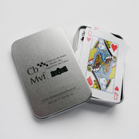 Set of 54 Cards with silver tin box was customized for the Castle Museum Boën Vignerons du Forez, Boën-sur-Lignon, France.